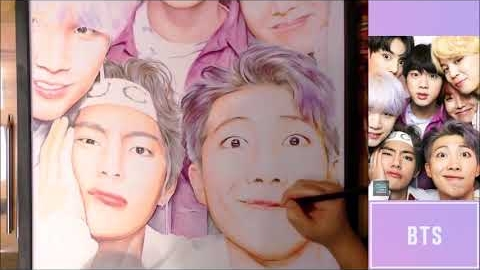 방탄소년단 팬아트 그림그리기(풀영상) BTS_RM,Suga,Jin,J-hope,Jimin,V,Jeongkook_fanart full drawing